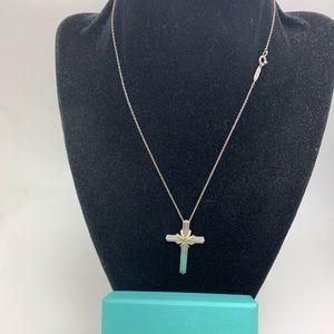 "Tiffany & Co925 18 Kt Cross Pendant On 26"" Chain"